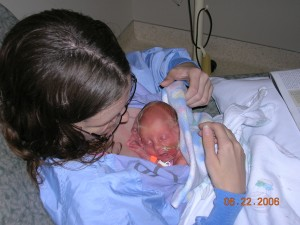 Editor Rita Brhel doing Kangaroo Care with her premature daughter